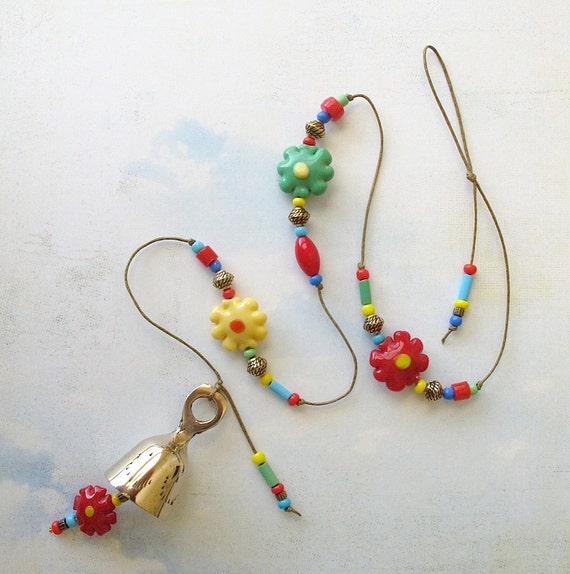 Beaded Garden Chime. Windchime with Multicolored Glass Beads. Funky Flowers 7. Brass Bell