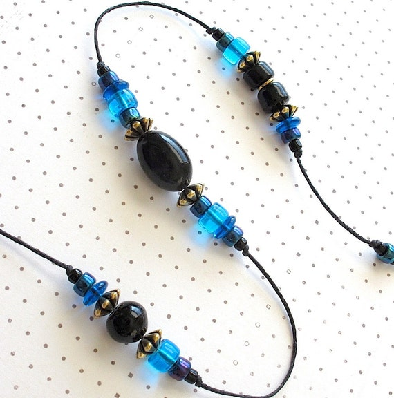 Beaded Garden Chime. Windchime with Black & Teal Blue Glass Beads. Brass Bell