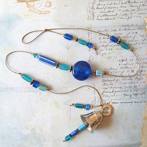 Beaded Garden Chime: Windchime with Cobalt Blue, Teal Green & Turquoise Glass Chevron Beads.  Brass Bell