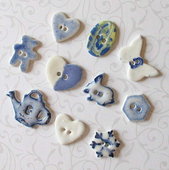 Handmade Porcelain Button Medley.  Ten Assorted Blues. Watering Can, Teddy Bear, Butterfly, Snowflake, Bunny, Hearts, Oval & Hexagon