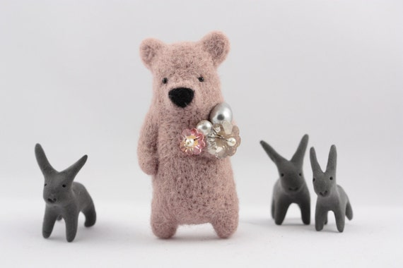 A old rose bear with crystals in paw brooch