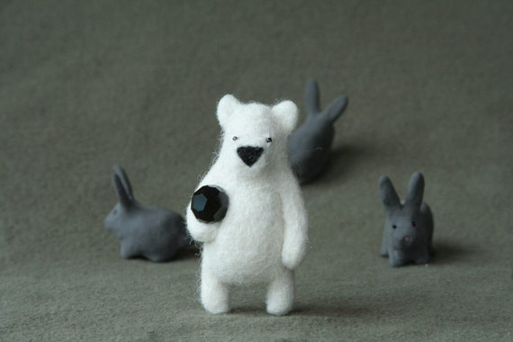 White bear with a black ball, brooche