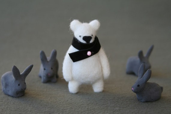 White bear with black scarf, brooche