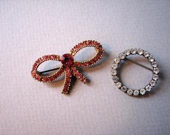 Two Vintage Rhinestone Pins