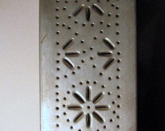 Vintage Punched  Metal Wall Hanging Match Safe