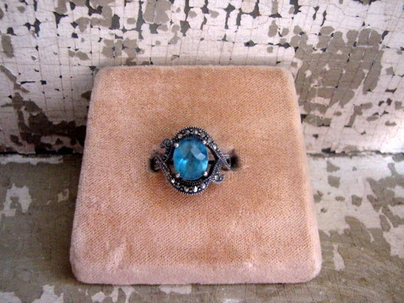 Vintage Aqua Marine and Sterling Silver and Marcasite Ring, Size 6
