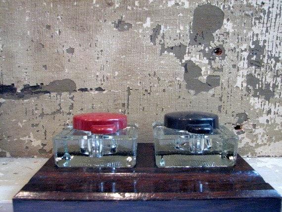 Vintage Double Ink Well Desk Set