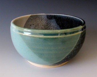 Small Noodle or Rice Bowl.  Greens, Blues & White. Speckled Pattern. White Gloss. Two Cup Capacity.