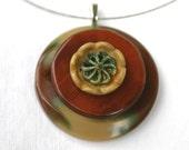 Funky Vintage Button Pendant