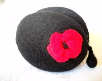 Black Poppy Wool Coin Purse