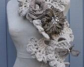 Sea shell neckwarmer, olive green fabric flower, scarves, crochet scarf, long scarve , handmade scarve
