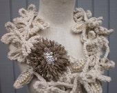 Leaf off white scarf, long scarf, neckwarmer, off white scarve, necklace scarve, crochet scarf .