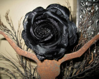 Black Sparkler Rose Hair Clip