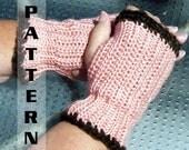 Fingerless Gloves Half Mittens Wrist Warmers - Crochet Pattern 512 INSTANT DOWNLOAD