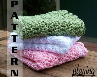 Crochet Baby Washcloths or Dishcloths Crochet Pattern 402  INSTANT DOWNLOAD
