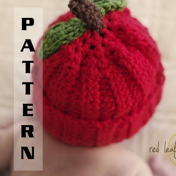 Apple Hat Pattern Newborn to Adult sizes plus Apple Booties for Baby - Crochet 311 INSTANT DOWNLOAD
