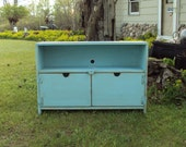 PRIMITIVE ROBINS EGG BLUE TV CABINET ENTERTAINMENT CENTER SHABBY CHIC AND DISTRESSED WOOD WOODEN