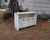 "Reclaimed wood look TV Stand 36"" Wide Storage bench Salvaged TV Cabinet Shabby Chic Distressed Antique White over Black  Primitive"