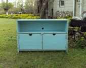 TV CABINET  Primitive Robins Egg Blue Storage Entertainment Center Shabby Chic and Distressed wood wooden