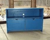Primitive Royal Blue Tv Cabinet  Storage bench Entertainment Center Shabby Chic Distressed wood Caribbean Coastal Periwinkle Ocean Blue
