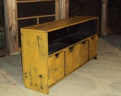 48 Inch wide SHABBY CHIC TV Cabinet Storage bench Entertainment Center Heavily distressed Mustard over Black Primitive Plazma Big Screen T V