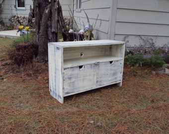 """Reclaimed wood look TV Stand 36"""" Wide Storage bench Salvaged TV Cabinet Shabby Chic Distressed Antique White over Black  Primitive"""