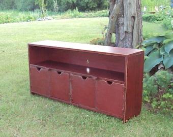 "48"" wide TV Stand Barn Red over black TV Cabinet Storage bench Entertainment Center Primitive Wood Plasma Big Screen T V"