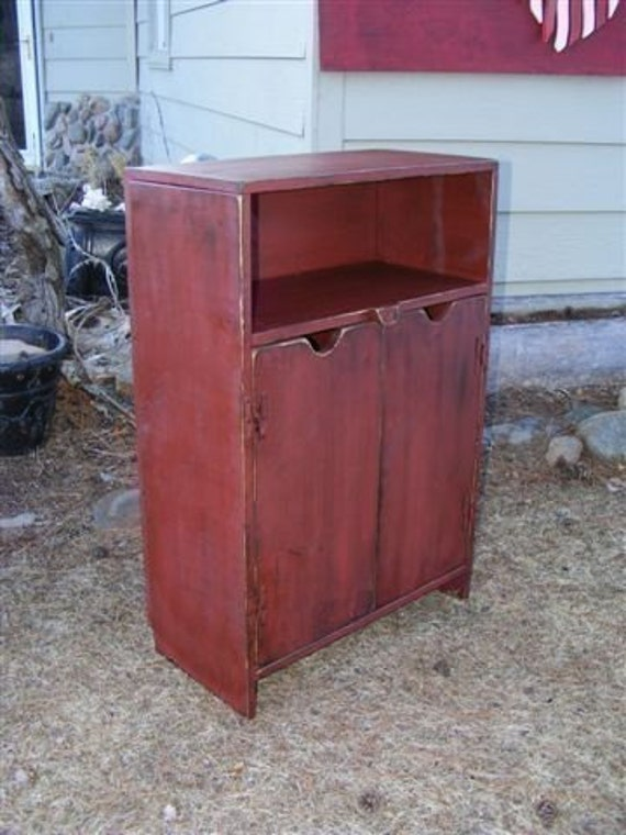 36 Tall X 24 Wide End  Storage bench Table Primitive TV Cabinet Shabby Chic Entertainment center Night Stand  Wood Wooden