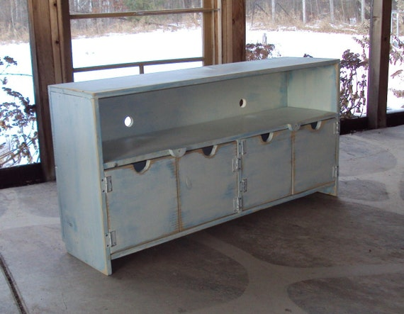 Sideboard 48 Inch wide SHABBY CHIC TV Cabinet Storage Bench  Plasma big screen Entertainment Center  White over Robins Egg Blue Primitive