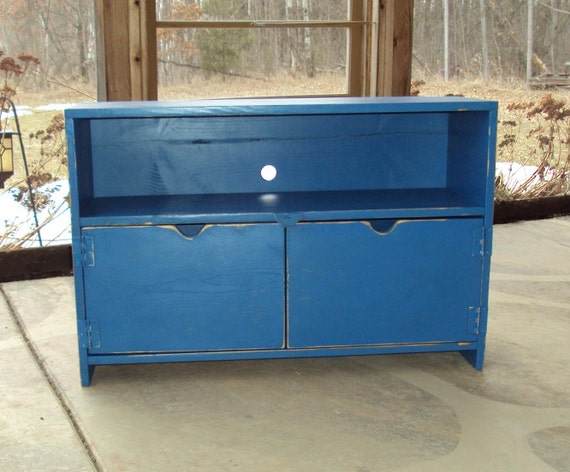 Primitive Royal Blue Tv Cabinet  Storage bench Entertainment Center Shabby Chic Distressed wood Caribbean Coastal Periwinkle Ocean Blue