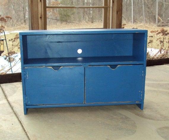 primitive royal blue tv cabinet entertainment center shabby. Black Bedroom Furniture Sets. Home Design Ideas