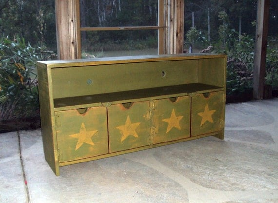 TV Cabinet Storage bench 48 Inch wide With Stars Heavily distressed Olive Moss Green over Mustard Primitive SHABBY CHIC Entertainment Center