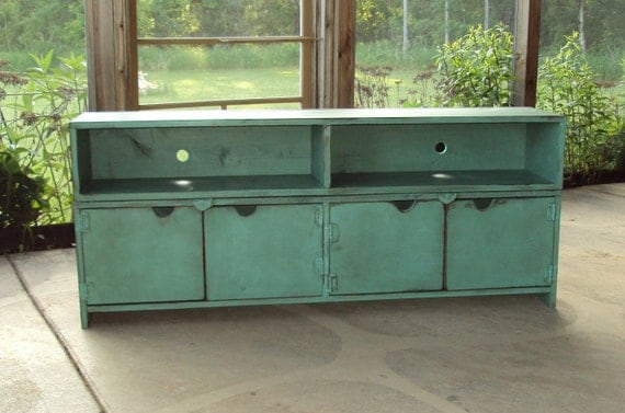 "58"" wide Distressed Turquoise TV cabinet big screen plasma T V Primitive Buffet Sideboard"