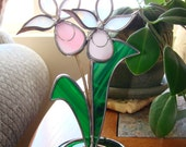 Pink Lady Slipper Orchid - Standing Stained Glass