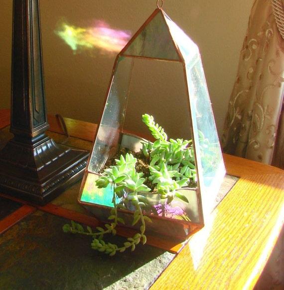 Northern Lights - Stained Glass Terrarium/Planter Pyramid Design