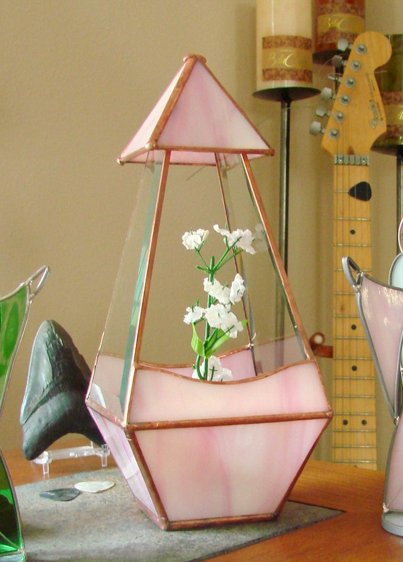Little Pink Tower - Stained Glass Terrarium/Planter Pyramid Design