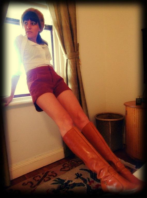 Vintage Brown Suede Shorts, Medium