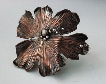 Textured Copper and Silver Leaf Bracelet