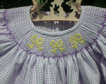 Handsmocked bishop with yellow bows ready to ship size 3 mos