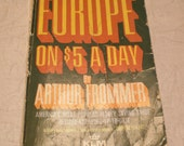 Vintage Travel Guide Europe 5 Dollars A Day Frommers Book 50 Maps for Mixed Media, Decoupage and Fun Reading