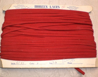 Faux Leather Suede 4-17 yd Handbag Strap or Cording Christmas Red Vintage Purse Strapping Pillow Covered Cord Yardage BTY NOS