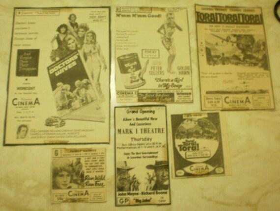 Vintage Movie Ads John Wayne, Goldie Hawn 1970 Collage Pack Assortment Motion Picture Ephemera Inspiration Midcentury Ad Scrap Package