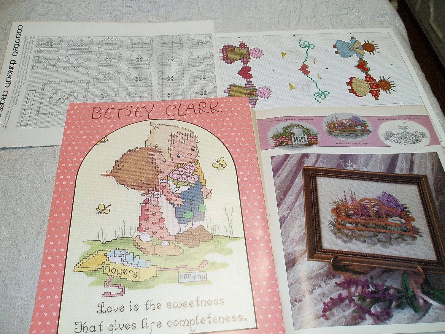 Counted cross stitch books vintage lot christmas wedding