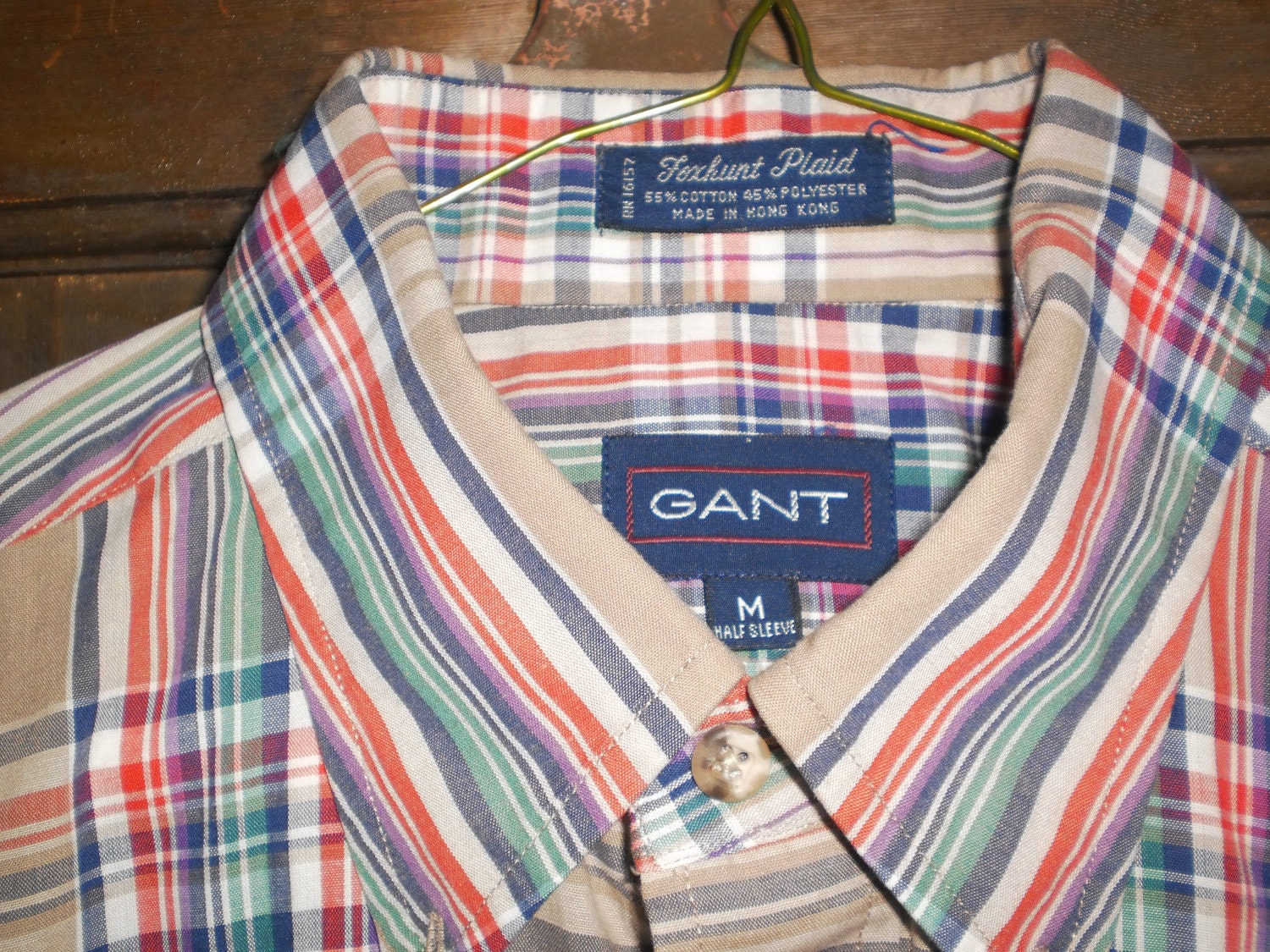 vintage gant foxhunt plaid shirt locker loop by