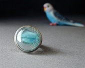LAST CHANCE SALE, 25. Off - Sterling and Glass Ring in Aquamarine - Reserved for Mona