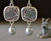 Sonoran Dendritic Ryolite and Freshwater Pearl Drop Earrings, Grey/Burgundy
