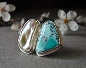Morenci Turquoise w/ Pyrite and Keshi Pearl Ring in Sterling Silver- RESERVED for Fregolla
