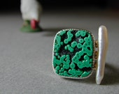 Malachite and Stick Pearl Ring in Sterling Silver with 14kt Gold, Modern, Organic