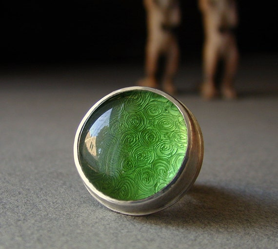 Green Glass and Sterling Ring with Spirals