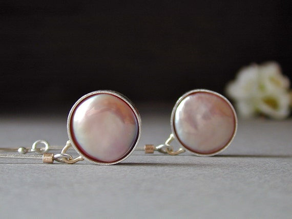 Large Pink Keshi Pearl Earrings, Long Dangles in Sterling Silver and 14kt Gold - RESERVED